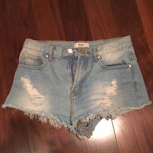 High waisted forever 21 denim shorts